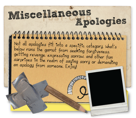 Misc apologies ranging from getting revenge, sorrow, and various ways someone said sorry